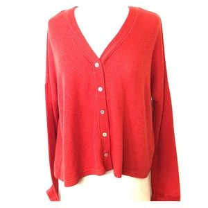 Red long sleeve button up top